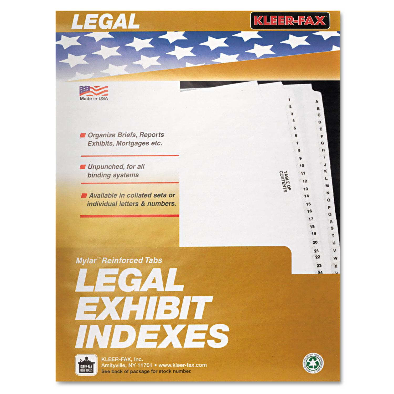 """80000 Series Legal Index Dividers, Side Tab, Printed """"Exhibit D\ by Kleer-Fax"""