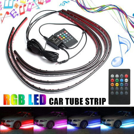 Waterproof DC12V RGB Car Auto LED Strip Under Tube Underglow Underbody System Neon Light Lamp Kit 12V w/ Remote Control Car Atmosphere Strip Lamp 2x90CM(36