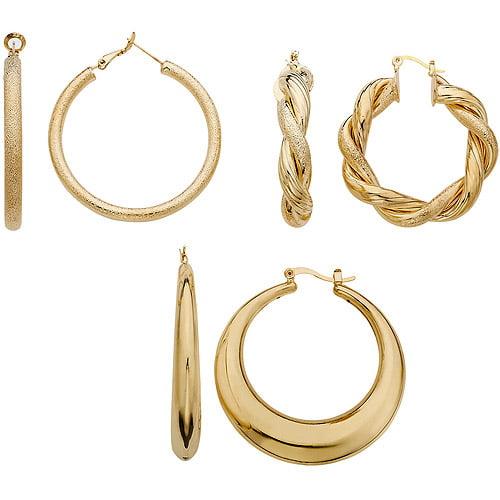 Large Fashion Gold Tone Hoop Earring Set, 3-Pair