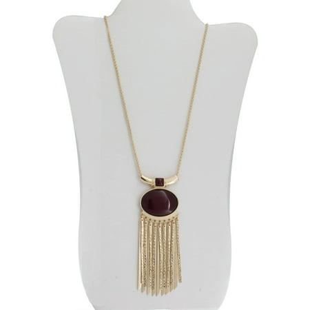 Burgundy Stone Gold-Tone Oval Pendant Necklace, 34