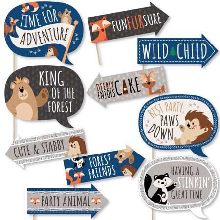 Funny Stay Wild - Forest Animals - Woodland Baby Shower or Birthday Party Photo Booth Props Kit - 10 - Animal Birthday Party