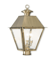 Outdoor Post 3 Light With Hand Crafted Solid Brass Seeded Antique Brass size 21 in 180 Watts - World of Crystal
