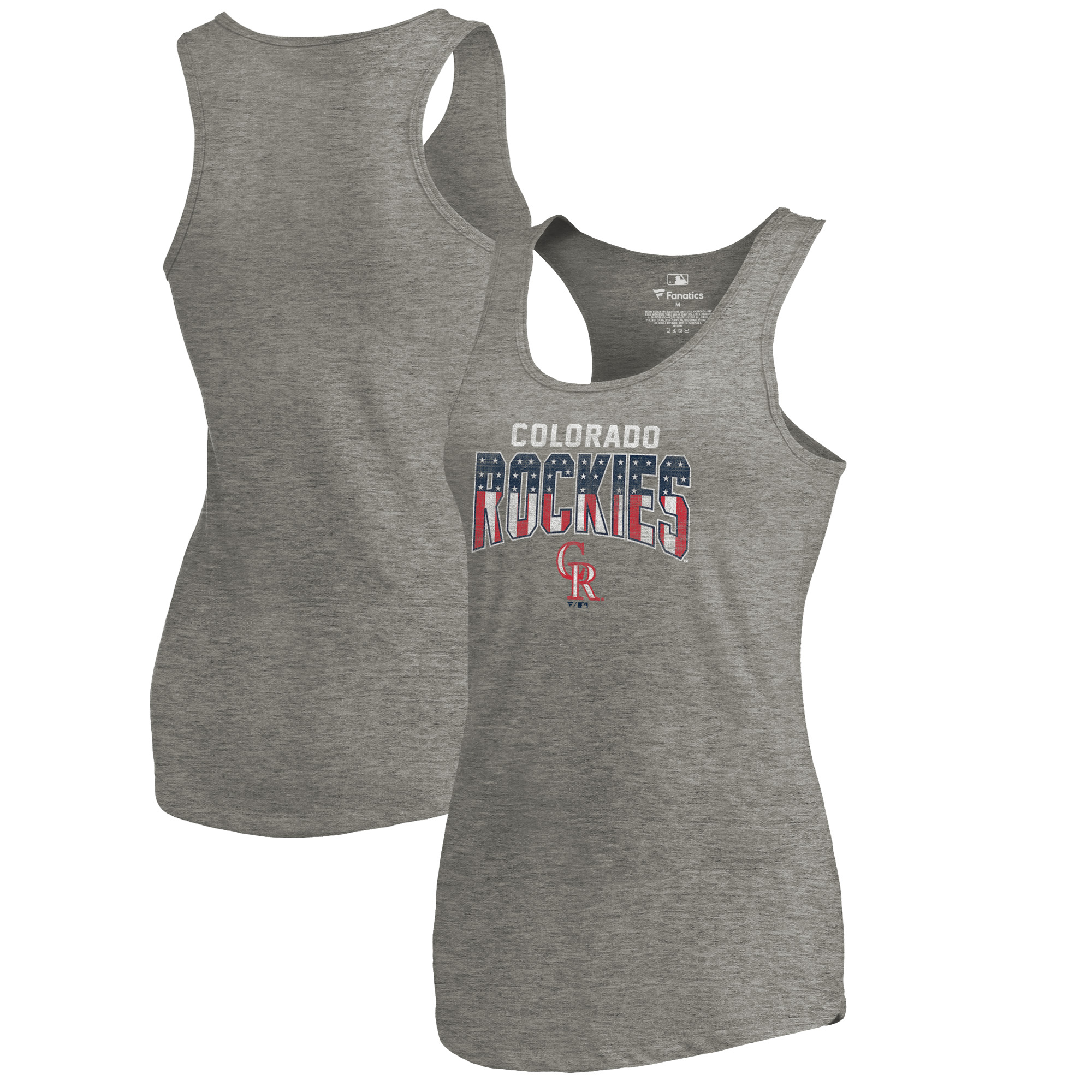 Colorado Rockies Fanatics Branded Women's 2018 Memorial Day Freedom Tri-Blend Tank Top - Heathered Gray