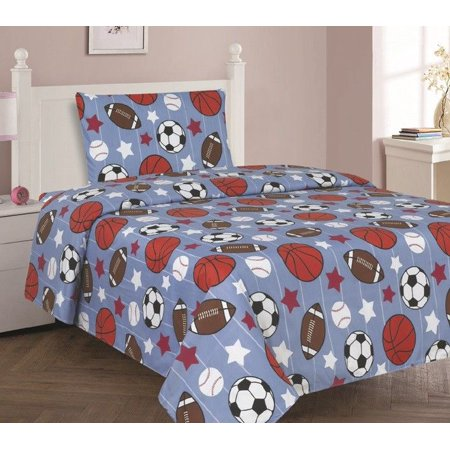 - GAME DAY Twin Size 3-Piece Kids Printed Microfiber Bedding Sheet Set 1 Flat Sheet, 1 Fitted Sheet, and 1 Pillowcase