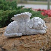 Design Toscano Dog Angel Pet Memorial Grave Marker Tribute Statue, 10 Inch, Polyresin, Stone Finish