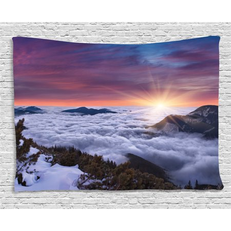 Nature Tapestry, Winter Landscape in the Mountains Sunset Majestic Scenes from the World Photo, Wall Hanging for Bedroom Living Room Dorm Decor, 80W X 60L Inches, Muave White Brown, by