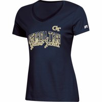 Women's Russell Athletic Navy Georgia Tech Yellow Jackets Arch V-Neck T-Shirt