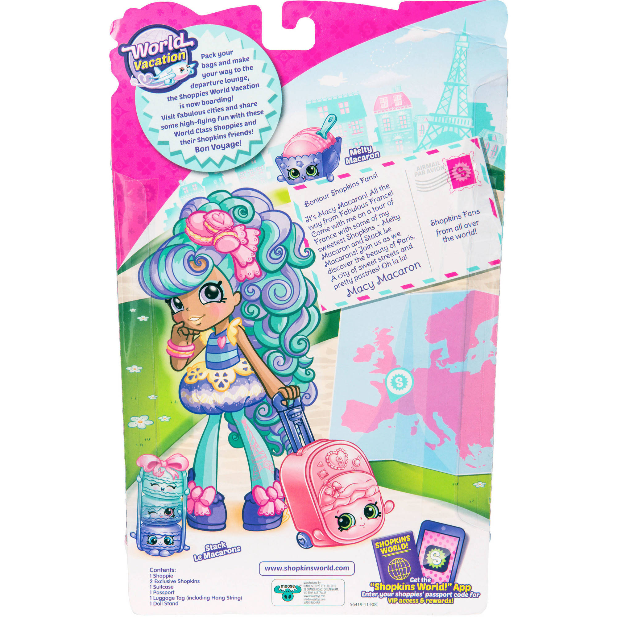 Shopkins Series 8 Wave 1 Doll Europe Macy Macaron Shoppies World Vacation Themed Dolls