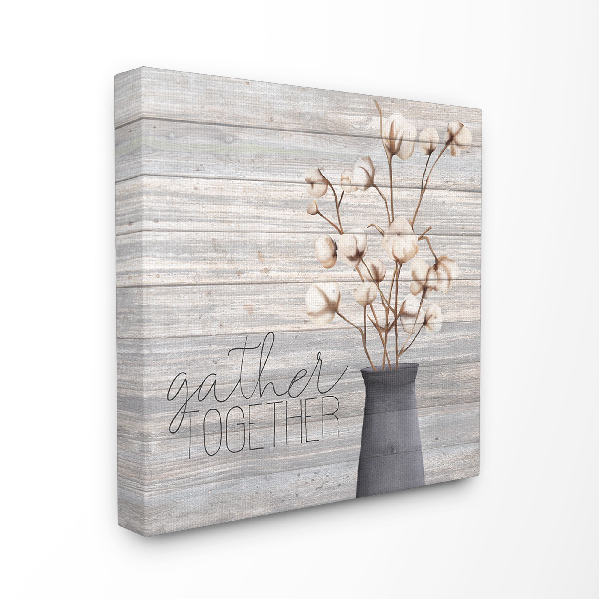 The Stupell Home Decor Grey Gather Together Cotton Flowers in Vase Canvas Wall Art - Walmart.com ...