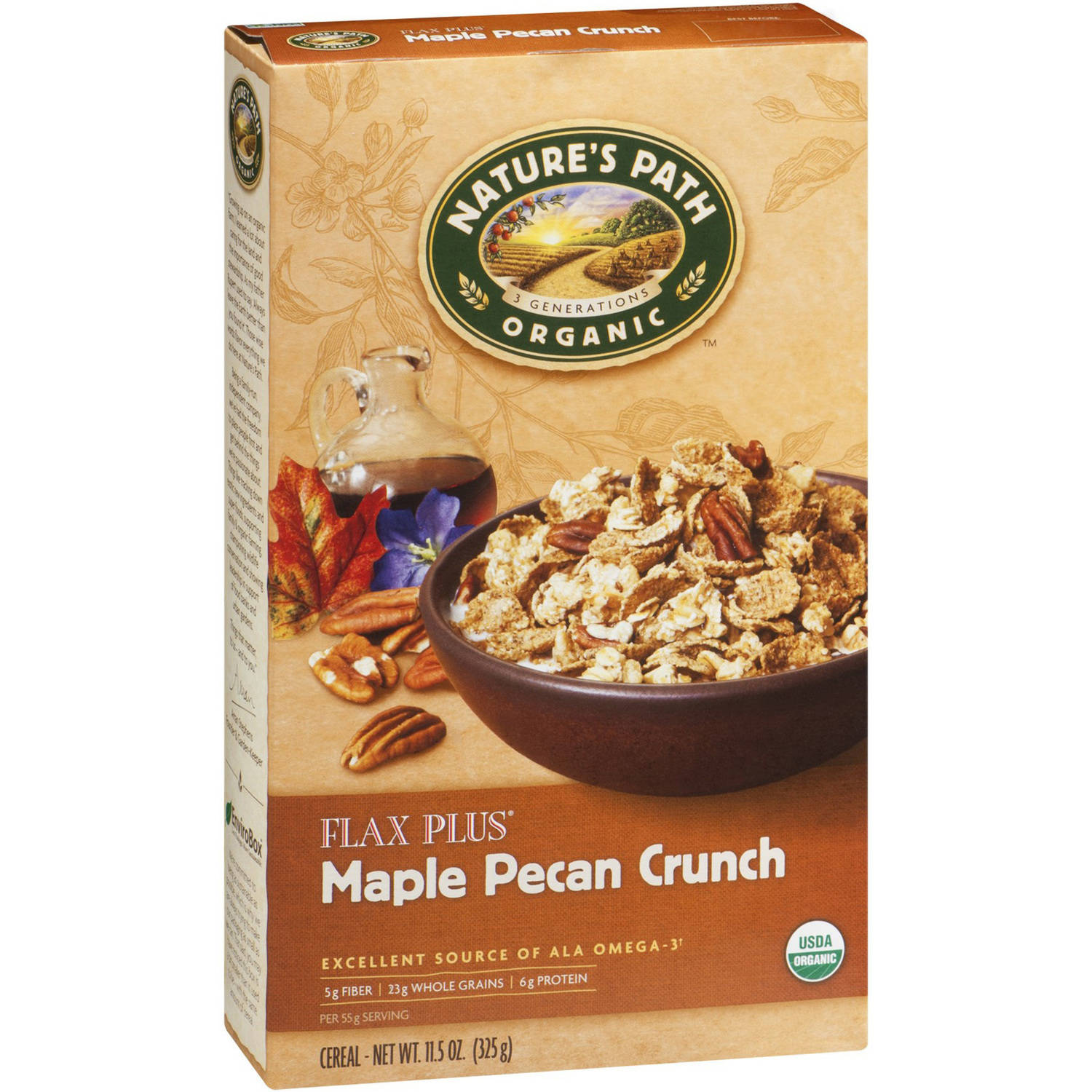Nature's Path Organic Flax Plus Maple Pecan Crunch Cereal, 11.5 oz, (Pack of 12)