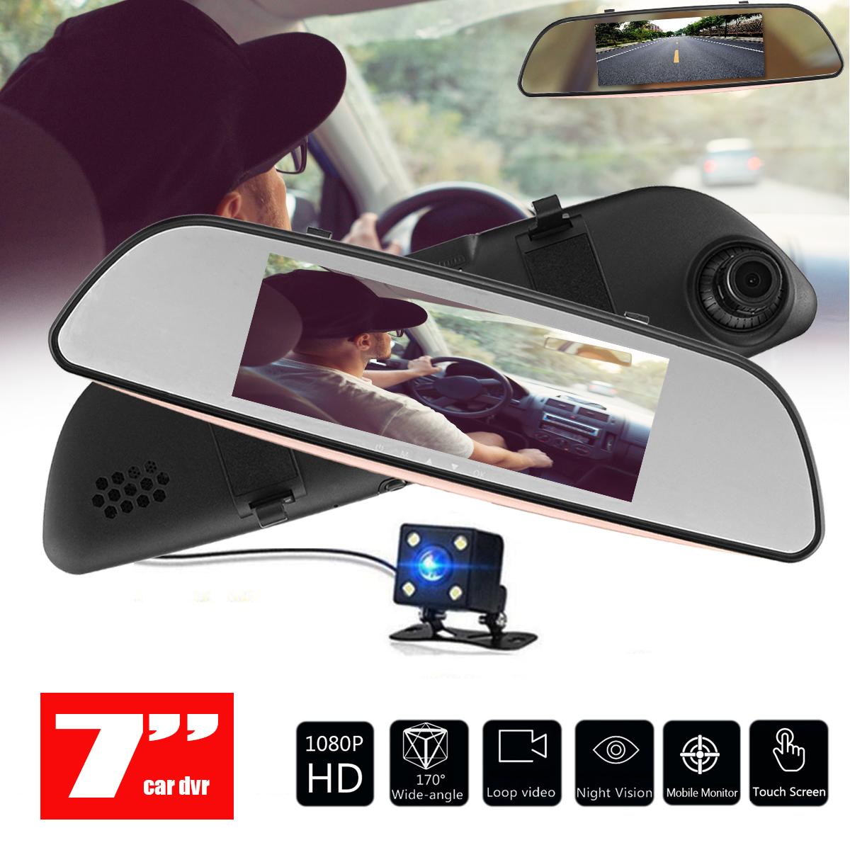 "170° A+ HD wide angle 7"" 1080P HD Rear view Blue Mirror Dual Lens touch screen Car DVR Dash Cam Camera Recorder"