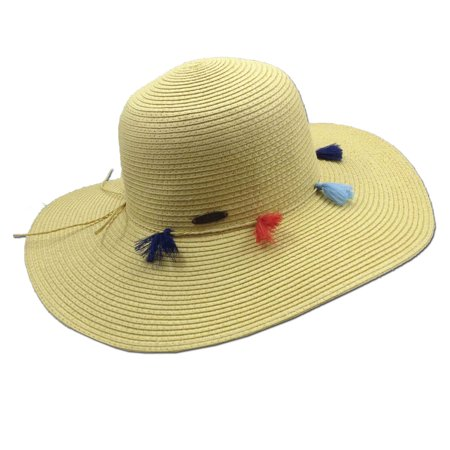 Panama Jack Women's Straw Packable Sun Hat with Tassels, 4