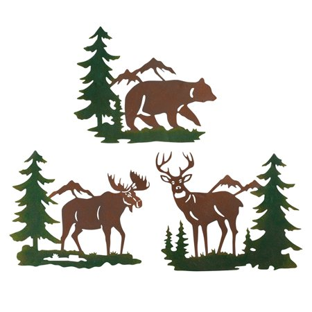 Northwoods Woodland Animals and Mountains Metal Wall Art Trio - Set of 3, Includes Bear, Moose, and Deer ()