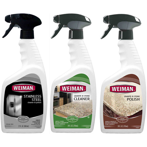 Weiman Granite and Stainless Steel Cleaner & Polishing Care Set, 3 pc