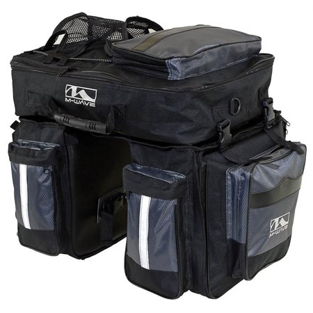 Traveller Pannier - M-Wave 3 Pc Traveler Pannier Bag in Black and Silver