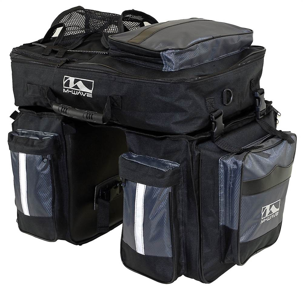 M-Wave 3 Pc Traveler Pannier Bag in Black and Silver
