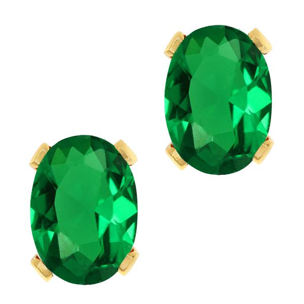 1.20 Ct Oval 7x5mm Green Nano Emerald 14K Yellow Gold Stud Earrings