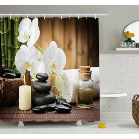 Ambesonne Spa Asian Style Decoration with Zen Stones Candle Flowers and Bamboo Shower Curtain Set