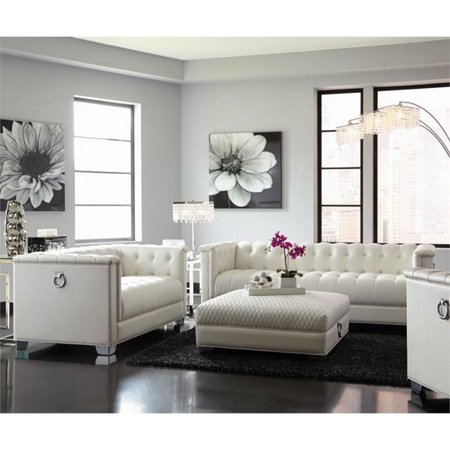 Coaster Chaviano 2 Piece Tufted Faux Leather Sofa Set in White ()
