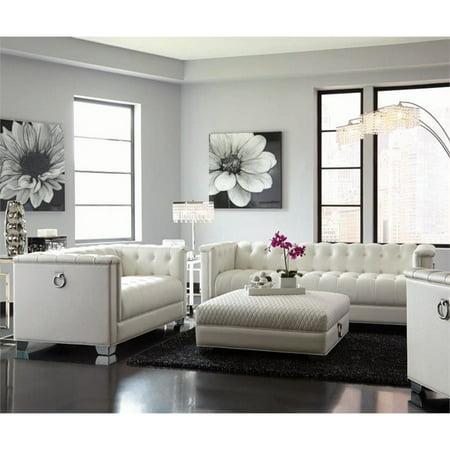 Coaster Chaviano 2 Piece Tufted Sofa Set In White