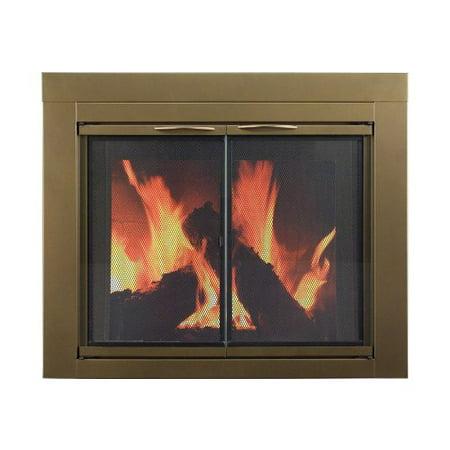 Pleasant Hearth Ashlyn Small Antique Brass Glass Fireplace Doors - Pleasant Hearth Ashlyn Small Antique Brass Glass Fireplace Doors