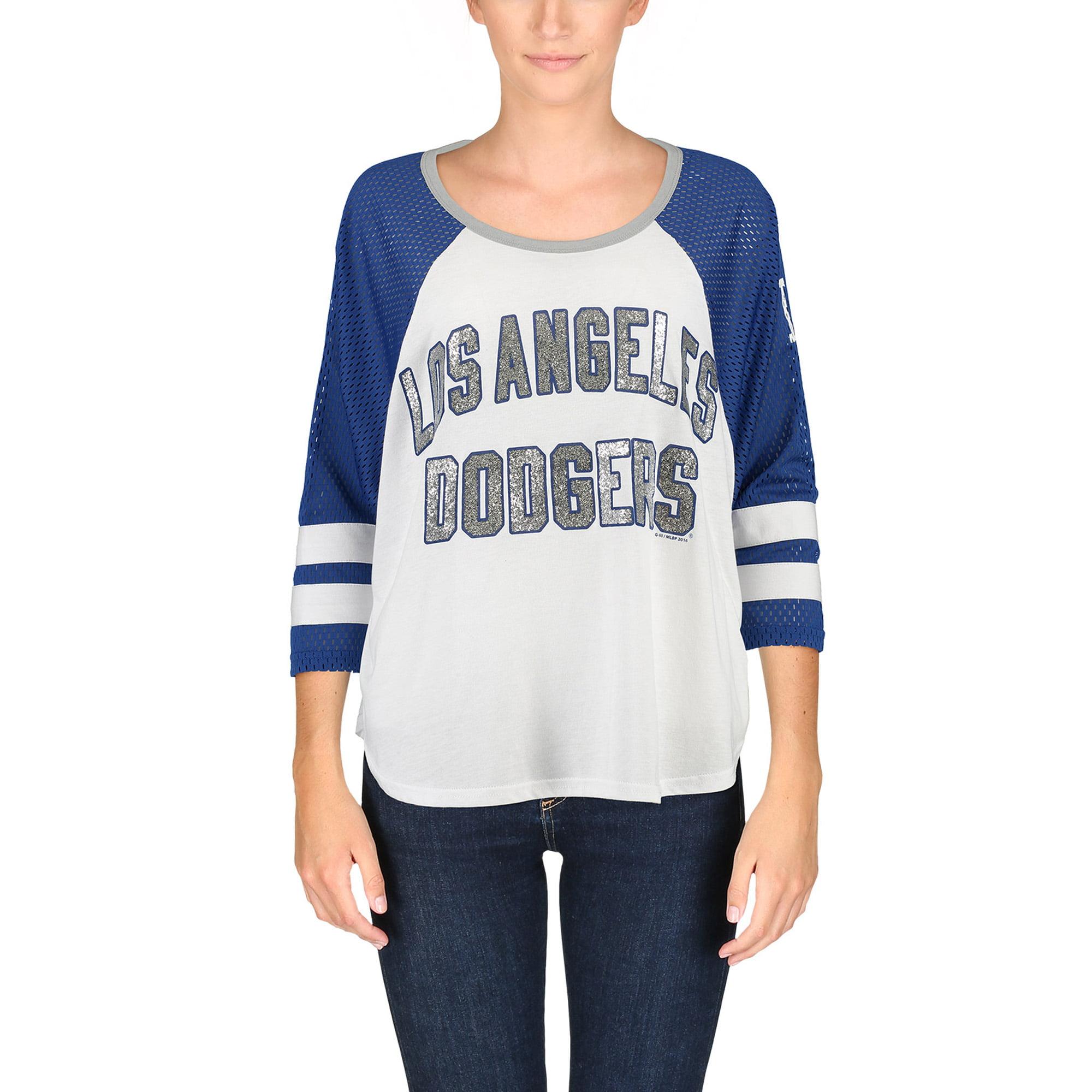 Los Angeles Dodgers G-III 4Her by Carl Banks Women's Grand Slam Tri-Blend Three-Quarter Sleeve T-Shirt - White/Royal