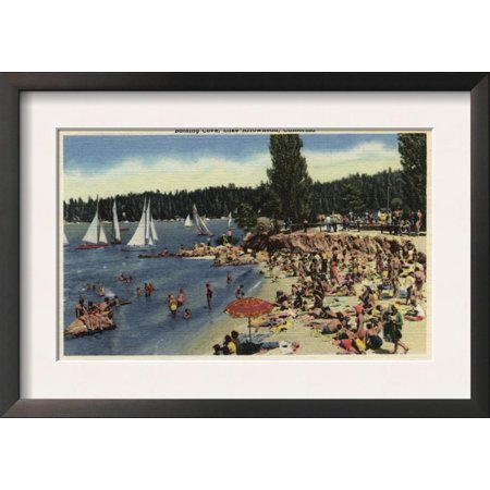 Lake Arrowhead, California - Swimmers on Bathing Cove Beach Framed Art Print Wall Art (Arrowhead Stadium Framed Photo)