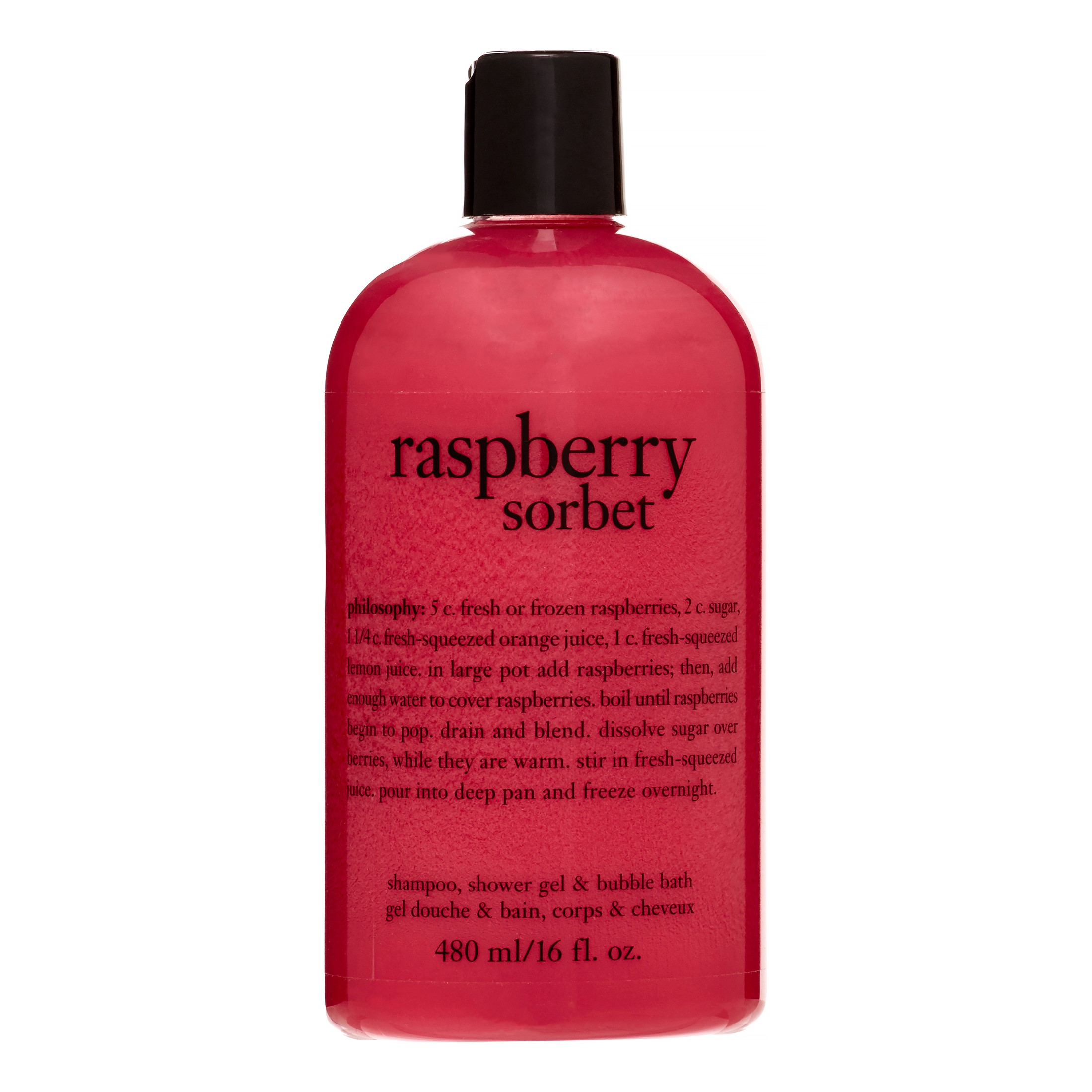 Raspberry Sorbet 3 in 1 Shampoo, Shower Gel & Bubble Bath, 16 Oz