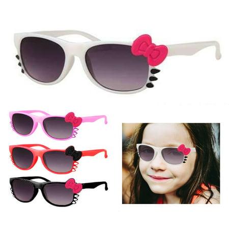 2 Pc Cat Eye Sunglasses Kids Baby Girls Goggle Glasses Bow Pop Children (White Gucci Goggles)