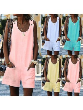 lisenraIn Womens Summer Loose Linen BIB Pants Overalls Straps Jumpsuit Rompers Trousers