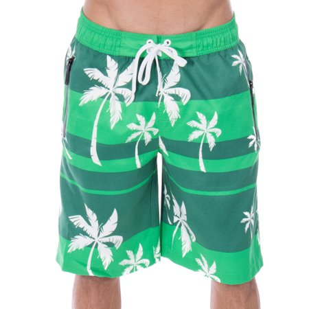 Alvin Archival Print Protector - Men's Alvin Striped Palm Tree Print Swim Trunks Boardshorts, Green, S