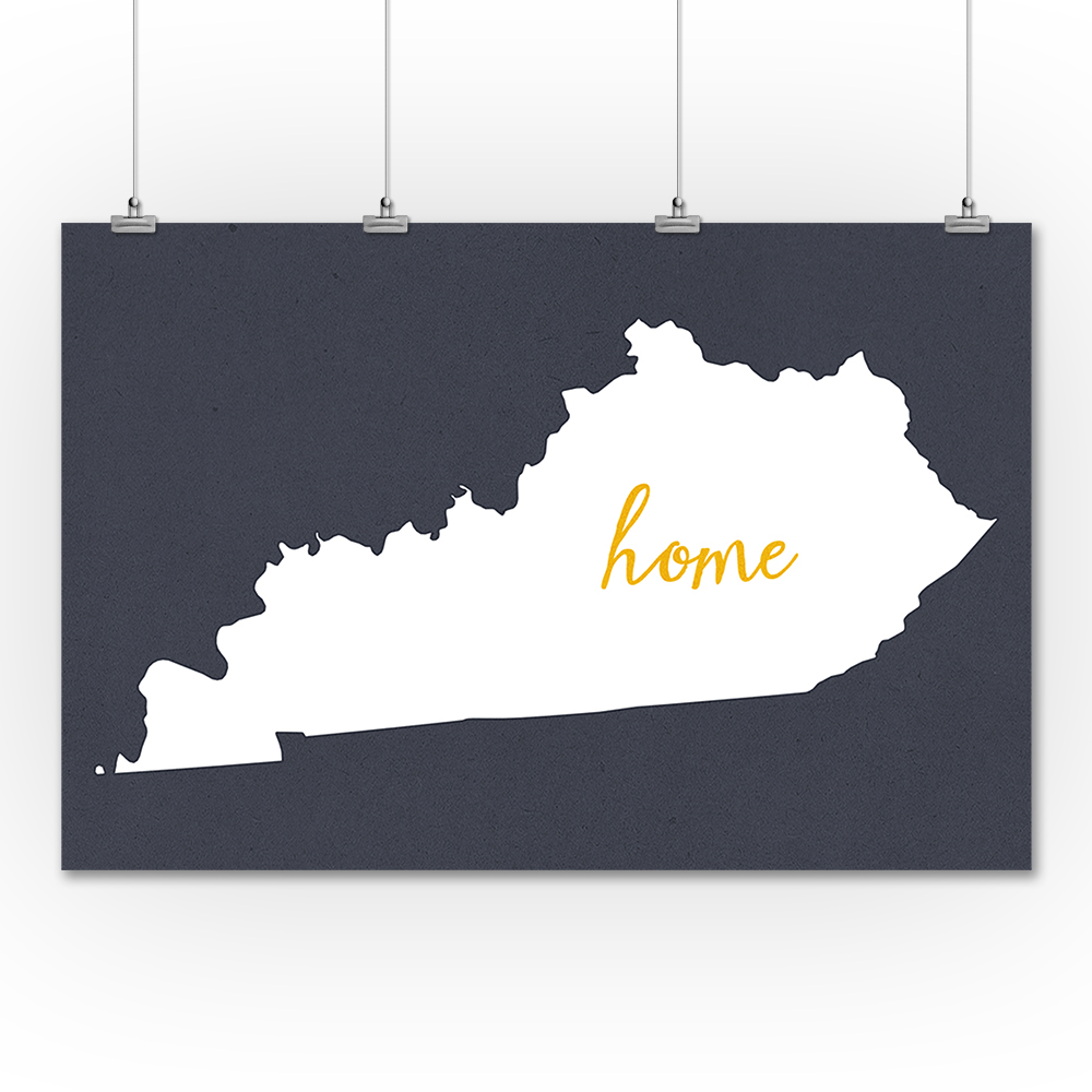 Kentucky - Home State - White on Gray - Lantern Press Artwork (36x54 Giclee Gallery Print, Wall Decor Travel Poster)