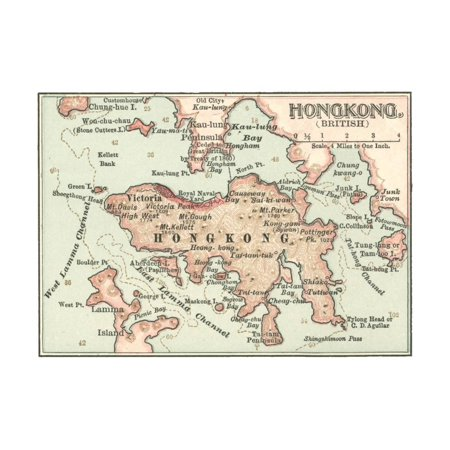 Map of Hong Kong (C. 1900), Maps Print Wall Art By Encyclopaedia Britannica - Hong Kong Disneyland Halloween Parade