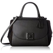 coach women's mixed leather drifter carryall mw black satchel by