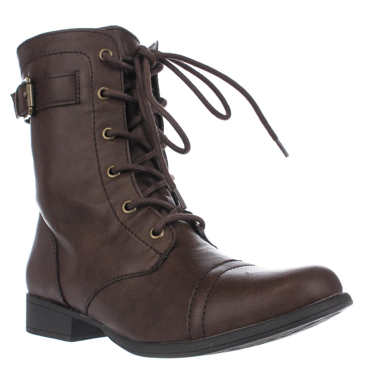 Womens AR35 Faylln Lace Up Combat Boots - Brown