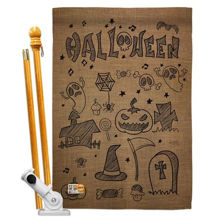 Breeze Decor BD-HO-HS-112061-IP-BO-D-US14-BD 28 x 40 in. Halloween Doodles Fall Impressions Decorative Vertical Double Sided House Flag Set with Pole Bracket Hardware - image 1 of 1