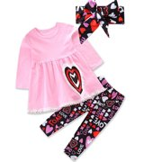 Toddler Baby Girl Valentine Clothing Love Print Ruffles Dress Tops + Kids Long Pant Leggings Scarf Outfit