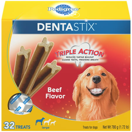 Pedigree Dentastix Large Dental Dog Treats, Beef Flavor, 1.72 lb. Pack (32 -