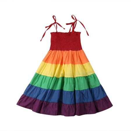 Toddler Kid Baby Girl Ruffle Sleeveless Rainbow Dress Party Princess Dresses (Rainbow Dresses For Kids)