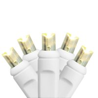 HUB 35 Count Wide Angle LED Lights with White Wire 4 in. Spacing