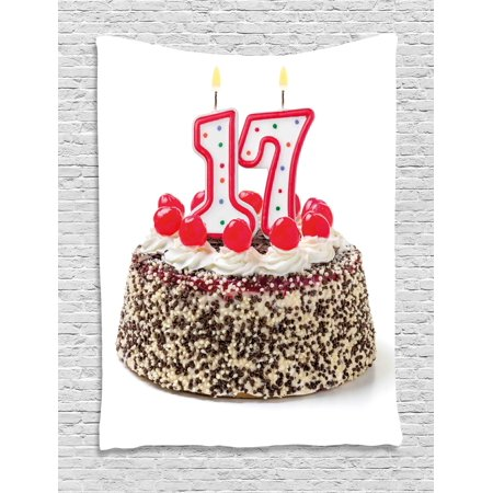 17th Birthday Decorations Tapestry Cake With Cherries And Sprinkles Candles Photo Art