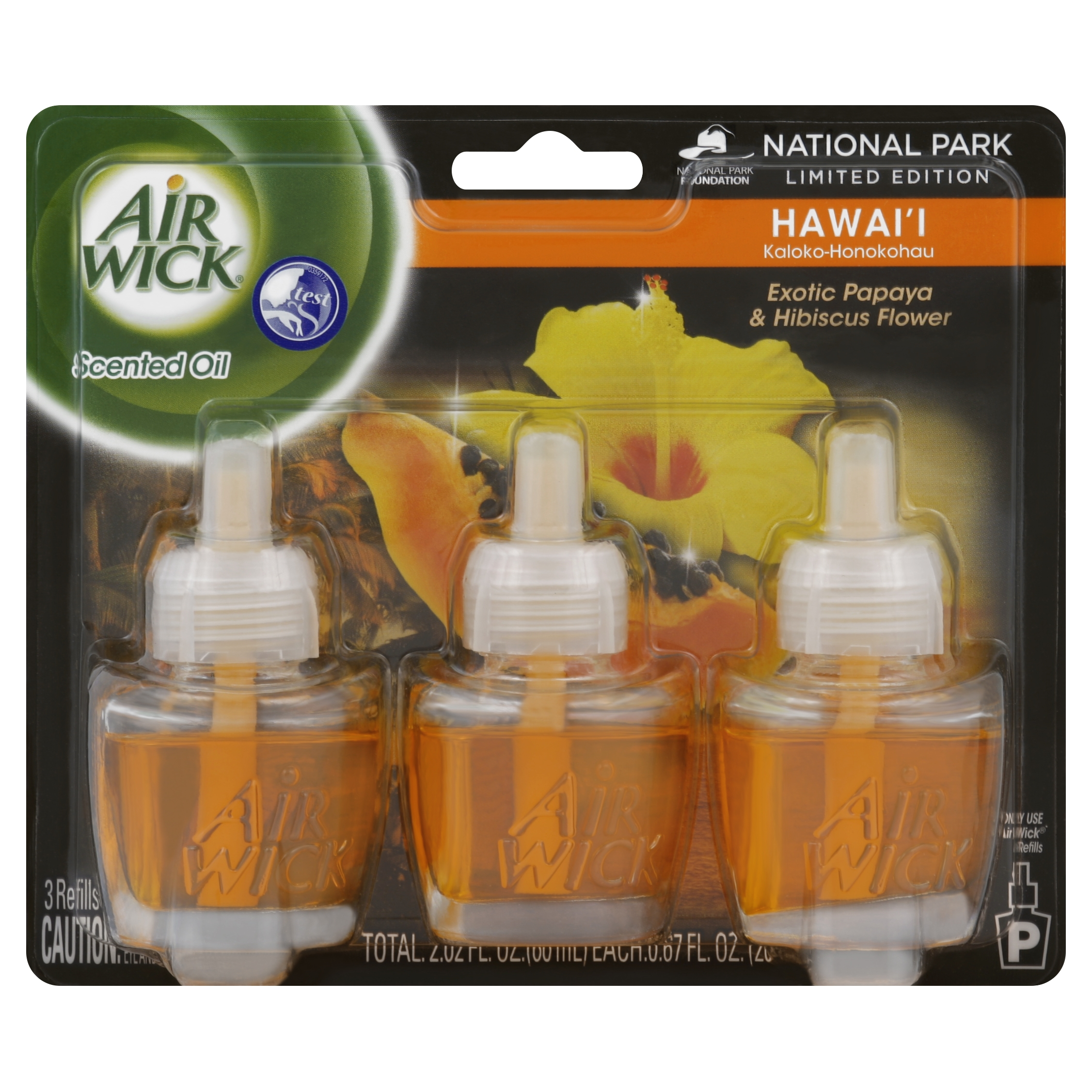 Air Wick Scented Oil Air Freshener, National Park Collection, Hawaii Scent, Triple Refills, 0.67 Ounce
