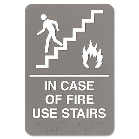 ADA Sign, 6 x 9, In Case of Fire Use Stairs, GrayRaised tactile graphics with grade 2 Braille. By Headline -
