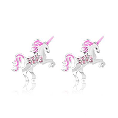 Children's Earrings - 925 Sterling Silver with a White Gold Tone Unicorn Pink Enamel Secure Screw Back Earrings Made with Swarovski Elements, Kids,baby,girls,children