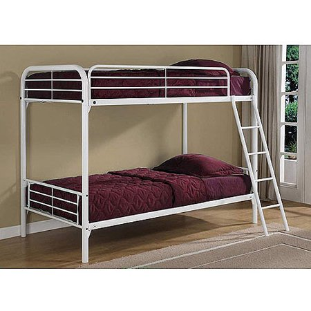 Dorel Twin-Over-Twin Metal White Bunk Bed with 2 Twin Mattresses