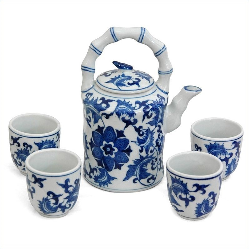 Oriental Furniture Floral Tea Set in Blue and White