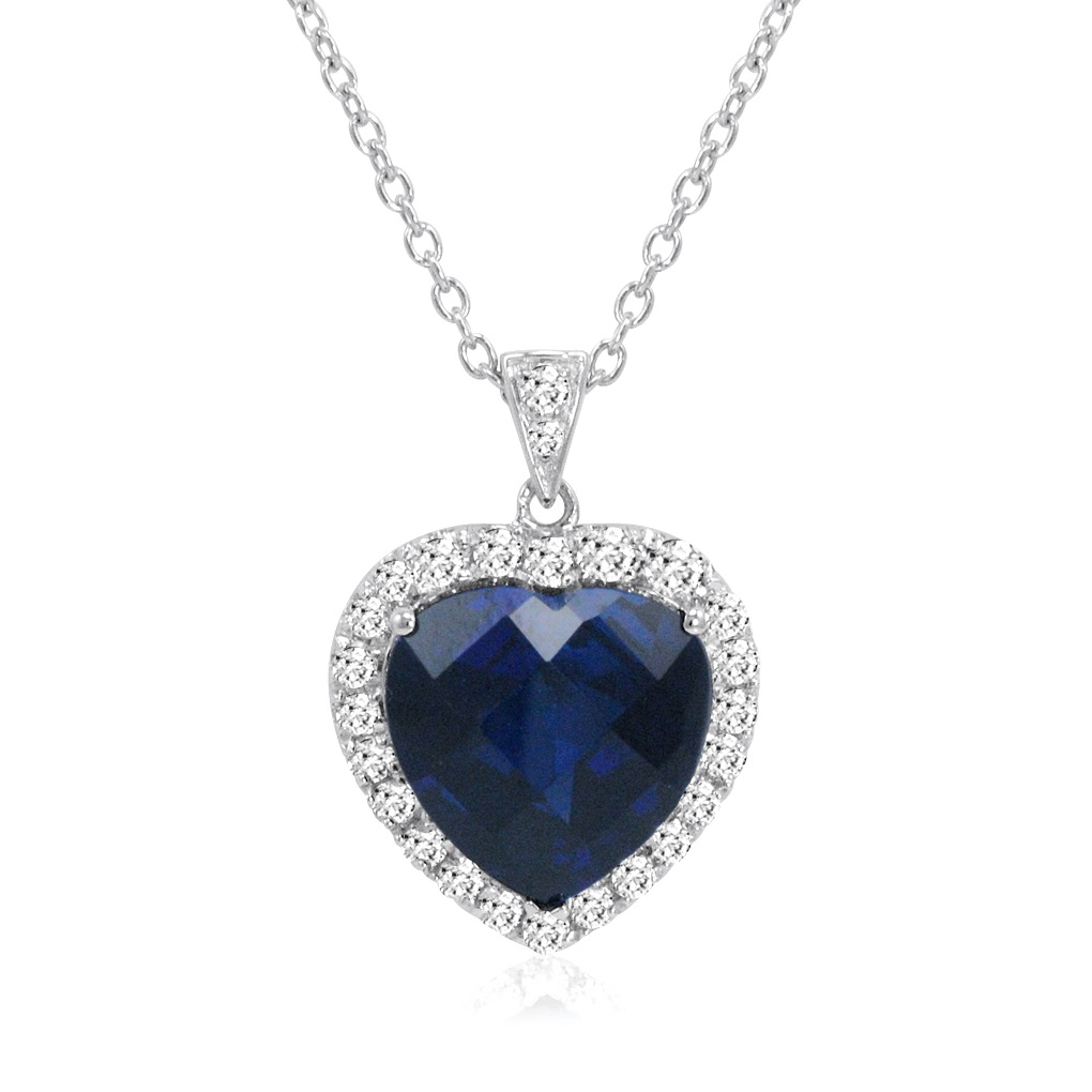Heart of The Ocean Created 12ct TW Blue and White Sapphire Necklace by