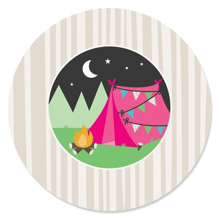 Let's Go Glamping - Camp Glamp Party or Birthday Party Circle Sticker Labels - 24 Count](Glamping Party)