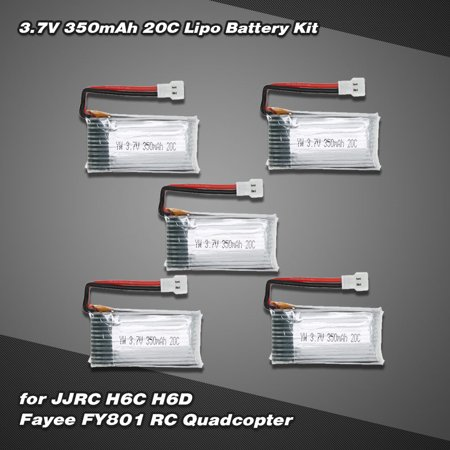 5Pcs 3.7V 350mAh 20C Lipo Battery Kit for JJR/C H6C H6D Hubsan H107C Fayee FY801 RC -