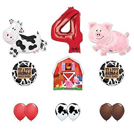 Farm Animal Birthday Supplies (Barn Farm Animals 4th Birthday Party Supplies Cow, Pig, Barn Balloon)